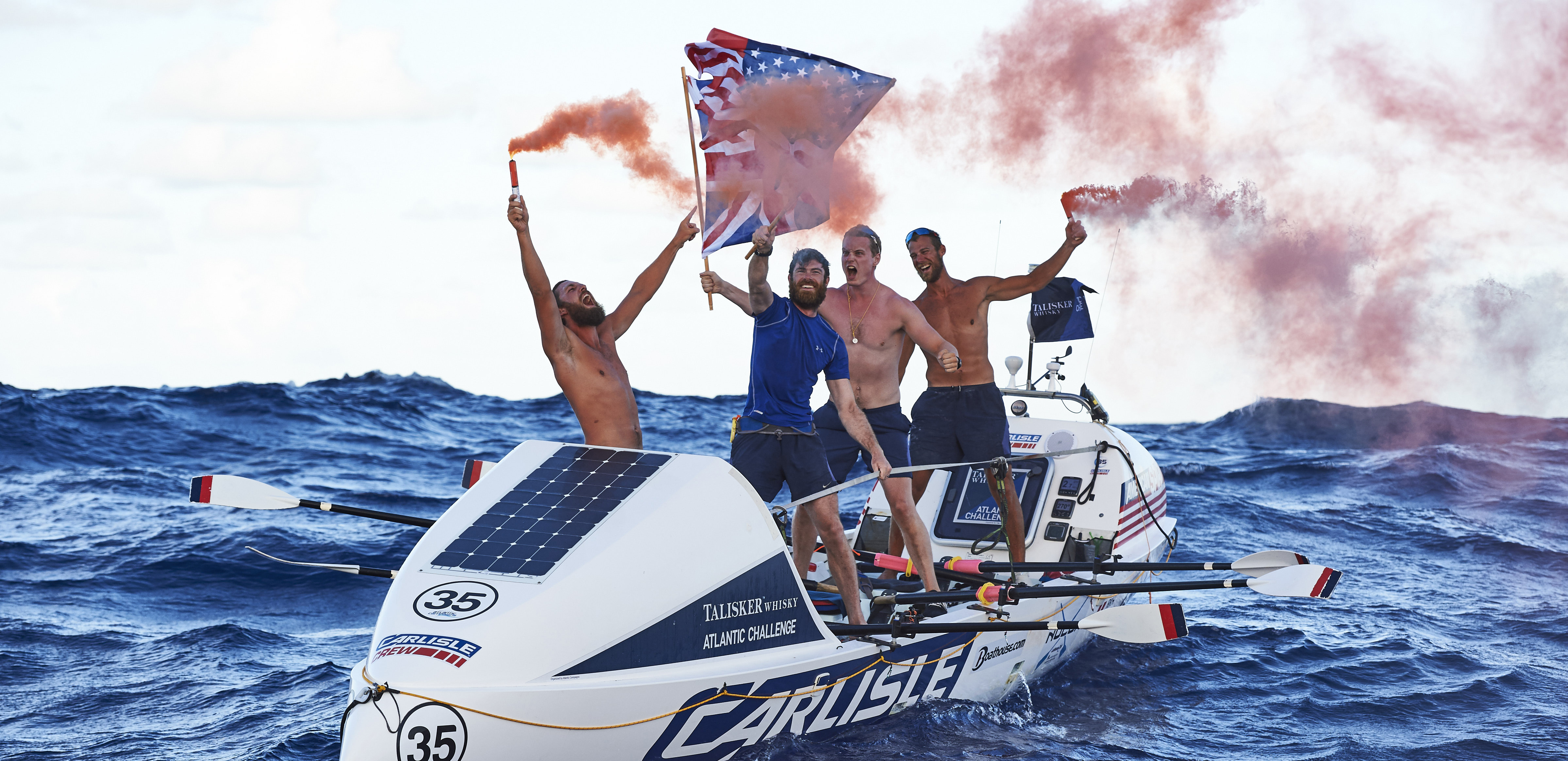 Carlisle's American Spirit crosses the finish line in the Talisker Atlantic Challenge shattering all previous records. Photographer: Ben Duffy