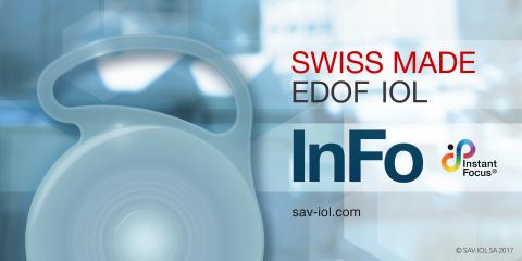 InFo 124M: Swiss Made EDOF IOL lente para cirugía de cataratas