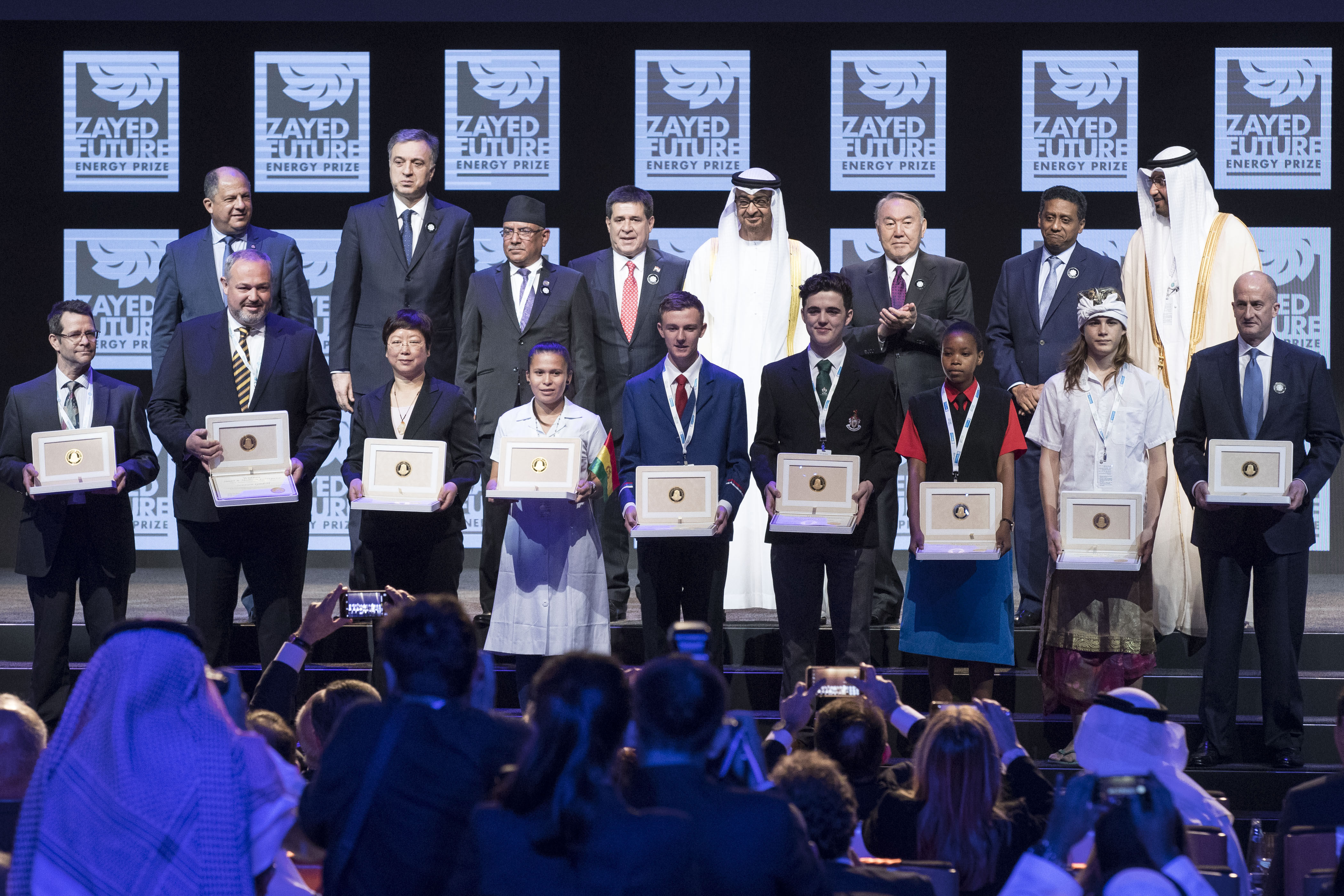 HH Sheikh Mohammed bin Zayed Al Nahyan, Crown Prince of Abu Dhabi, and heads of state with representatives of the nine winners of the 2017 Zayed Future Energy Prize at the awards ceremony in Abu Dhabi, UAE (Photo: ME NewsWire)