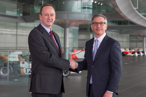 Jonathan Neale, McLaren Technology Group COO (on left) and Ilan Levin, Stratasys CEO (on right) (Pho ...