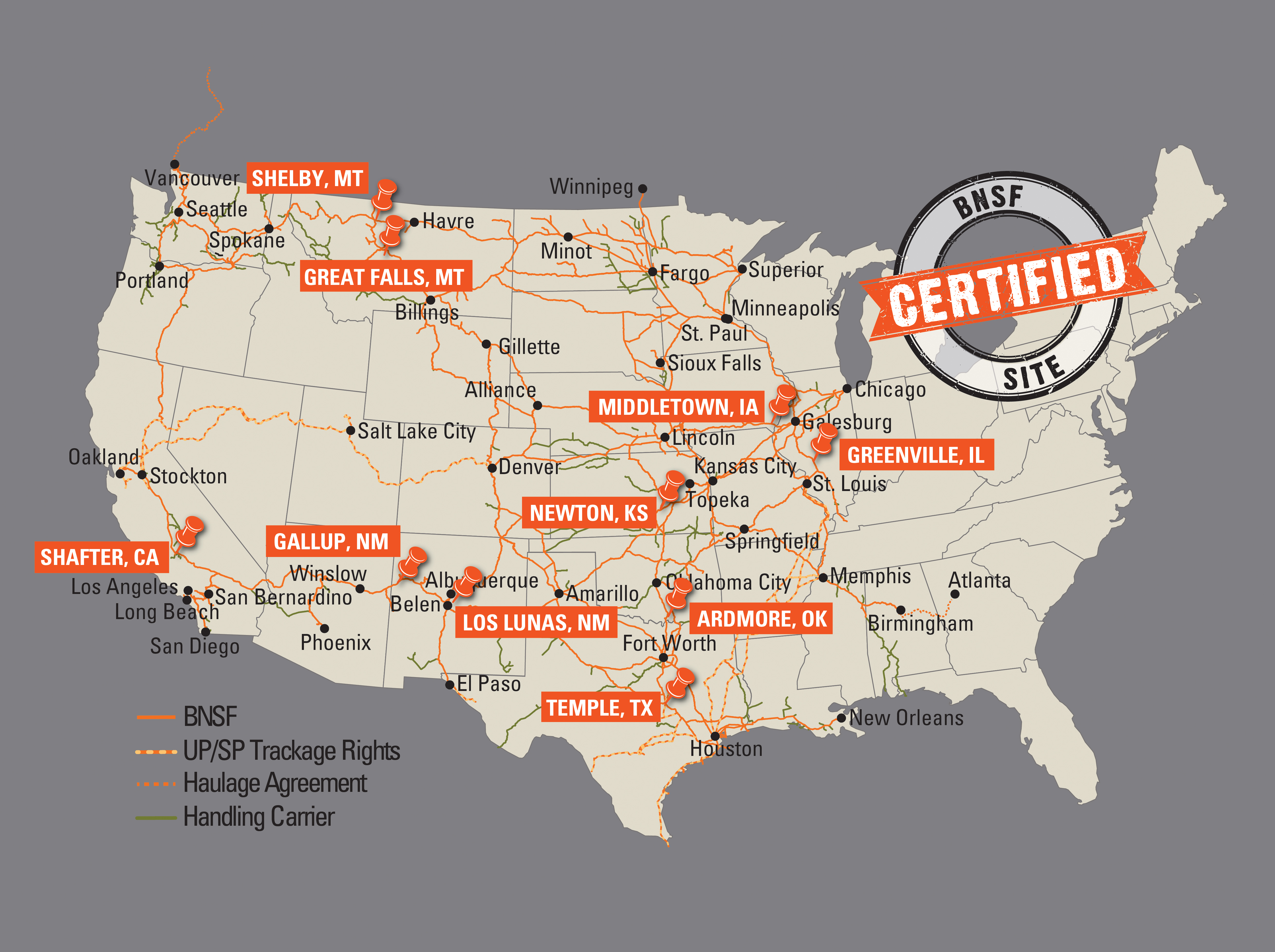 BNSF Railway Announces Certified RailServed Sites For - Bnsf railway us map