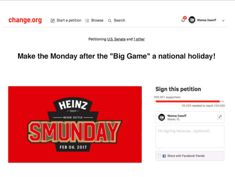 The Heinz Brand Launches Petition to Make Monday After the Big Game a National Holiday (Photo: Busin ...