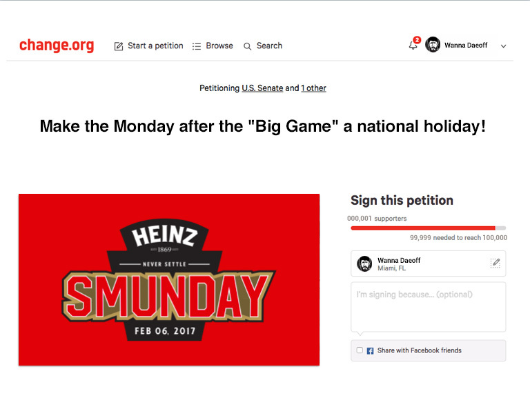 The Heinz Brand Launches Petition To Make Monday After The Big Game