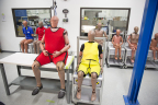 Large array of Crash Test Dummies at Humanetics, representing different age group and body size demographics, including the latest Obese dummy (red) and Elderly dummy (yellow). (Photo: Business Wire)