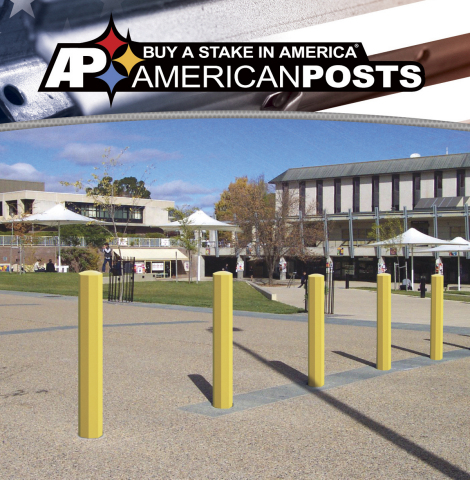 American Posts has introduced an octagonal-shaped bollard post for traffic and pedestrian security applications that is stronger, lighter, and less expensive. Product is made in American with American steel. (Photo: Business Wire)