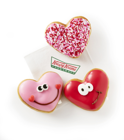 The Pink Happy Heart Doughnut, Red Happy Heart Doughnut, and Sprinkled Heart Doughnut are available now through Feb. 14 at participating shops in the US and Canada. (Photo: Business Wire)
