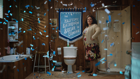 """Febreze, an Official Sponsor of the NFL, unveiled its first-ever Super Bowl ad, """"America's Halftime Bathroom Break."""" Created by Grey New York, the spot is voiced-over by actress Kathryn Hahn and provides a humorous look at the always-anticipated Halftime #BathroomBreak - the phenomenon that occurs as millions of football- and ad-loving fans rush to the bathroom in the minutes between the halftime whistle and the halftime show. (Photo: Business Wire)"""