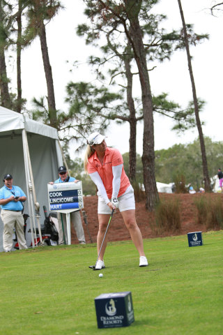 Brittany Lincicome tees off at the Diamond Resorts Invitational, a PGA Tour Champions Challenge Season Event in Orlando, FL. Jan. 13-15. (Photo: Business Wire)