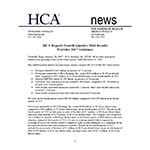 HCA Reports Fourth Quarter 2016 Results