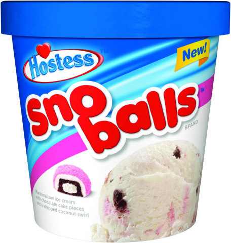 SNO BALLS: We have put the chill in one of America's best-loved snack cakes. Sno Ball ice cream is a perfect marriage of bite-sized chocolate cake pieces and whipped pink coconut swirl in a silky marshmallow ice cream. (Photo: Business Wire)