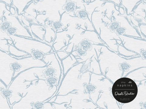 The Terrace collection features a modern chinoiserie pattern for those seeking to add an icy blue pa ...
