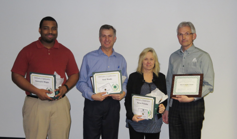 From left to right: Axalta's Kris Wright, Gary Weaks, Karen Putinsky and Jakob Schroeder pose with their 4-H awards. (Photo: Axalta)