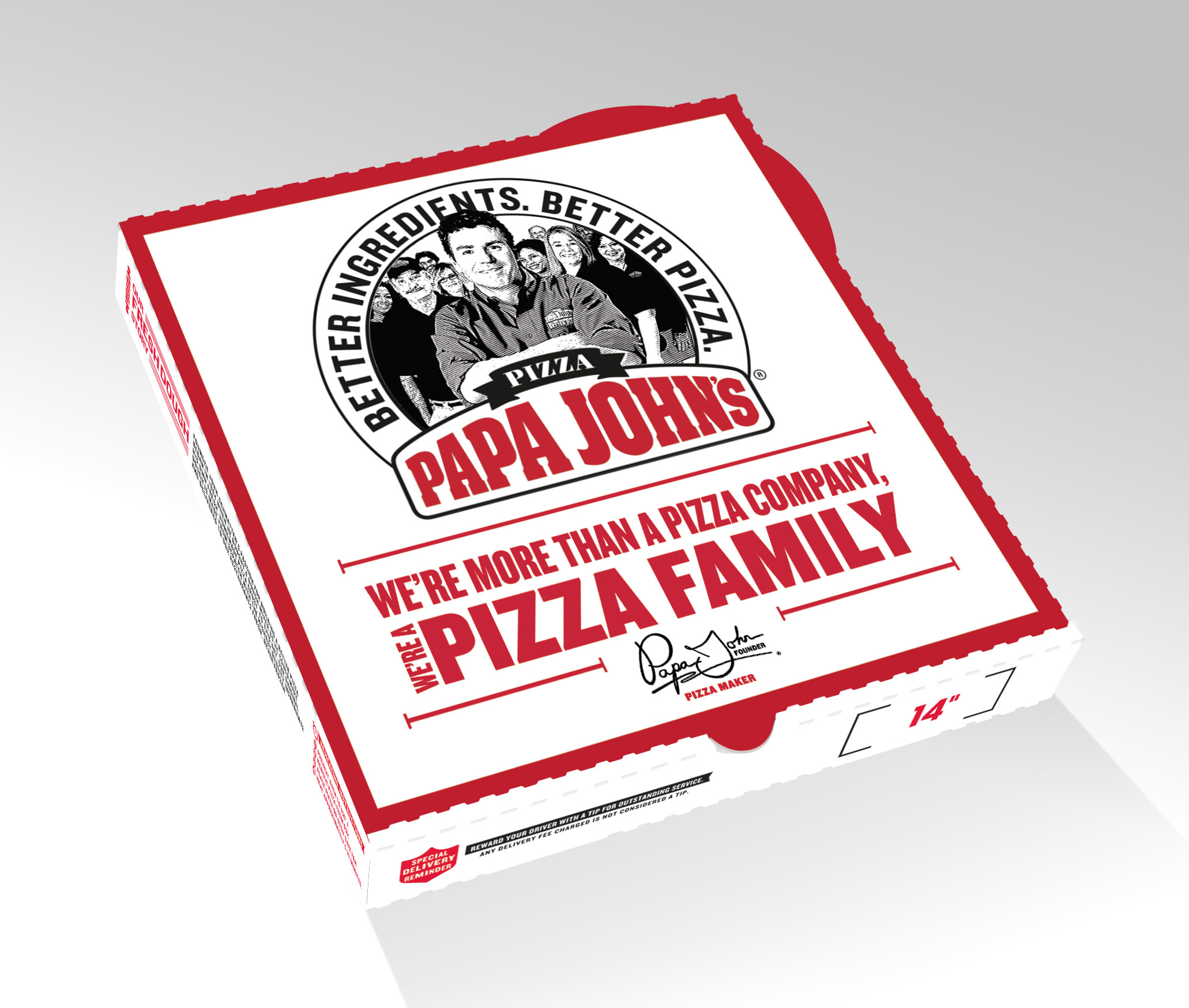 "Papa John's unveils new logo, pizza box, and TV spots to support ""Pizza Family"" brand campaign. (Photo: Business Wire)"