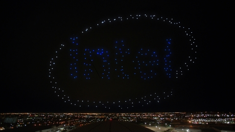 An Intel Shooting Star drones fleet lights up the sky in the Intel logo following the Pepsi Zero Sugar Super Bowl LI Halftime Show on Sunday, Feb. 5, 2017. (Credit: Intel Corporation)