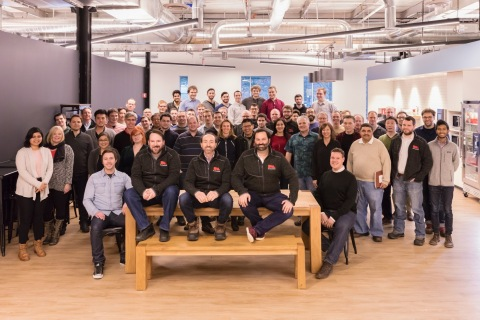At the crux of Desktop Metal's mission to advance metal 3D printing is a world-class team of experts spanning the fields of materials science, robotics and software. In addition to Ric Fulop (seated front right), the company's leadership team includes four renowned MIT professors and a team of 80 engineers, 14 with Ph.D.'s. (Photo: Business Wire)