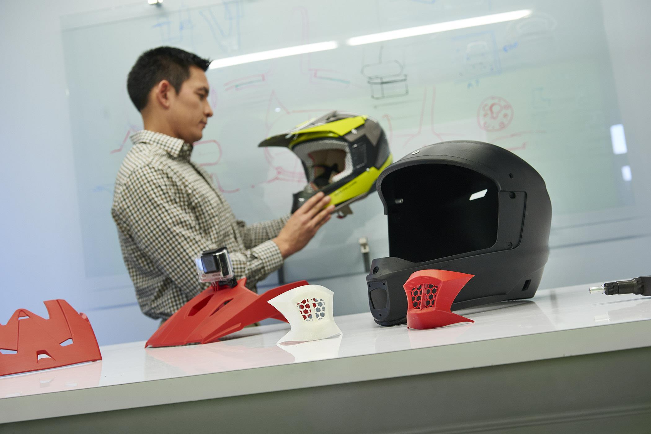 Motorcycle helmet prototypes produced on the Stratasys F370 3D Printer at the Center for Advanced Design being tested for design validation. (Photo: Business Wire)
