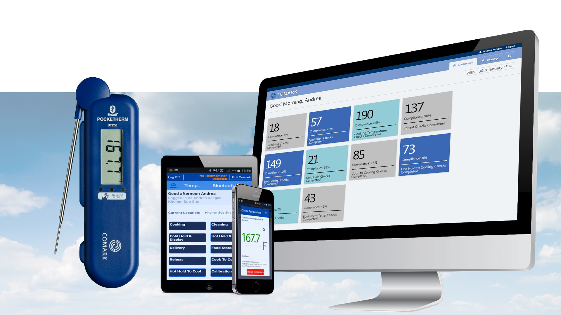 Bluetooth Pocketherm Folding Thermometer and Kitchen Checks Pro App (Photo: Business Wire)
