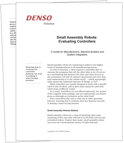 "DENSO's new free guide, ""Small Assembly Robots: Evaluating Controllers,"" provides essential facts and information about controllers for small assembly robots. A section on buying tips is included.  (Photo: Business Wire)"