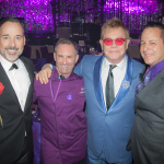 "When it comes to creating mouth-watering and inspiring cuisine for the Elton John AIDS Foundation Oscar party, ""It's a labor of love,"" says Chef Wayne Elias, (second from left) pictured with business partner Chris Diamond (far right), co-owners of Crumble Catering and Los Feliz restaurant Rockwell: Table & Stage, joined by (l-r) David Furnish and Sir Elton John. (Photo: Business Wire)"