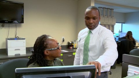 Edward Lubembe, Regions branch manager in Bessemer, Ala., pictured with colleague Antangela Battle. (Photo: Business Wire)
