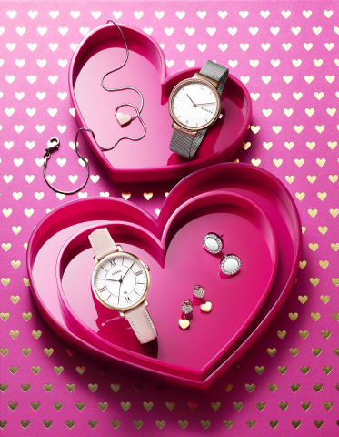 Shop Macy's for loveable items for all this Valentine's Day - Skagen 2-pc Boxed Set with Heart Necklace and Watch (Photo: Business Wire)