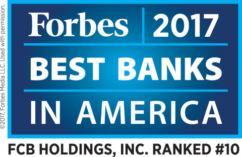 "Florida Community Bank Ranked #10 in Forbes 2017 ""Best Banks in America"" (Graphic: Business Wire)"