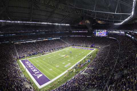 Eaton's patented Ephesus LED sports lighting and industry-leading controls system will illuminate the next three professional football championship games, scheduled for 2018 in Minneapolis, 2019 in Atlanta and 2020 in Miami. (Photo: Business Wire)