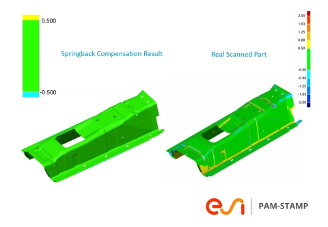 Using ESI PAM-STAMP, customer Aethra reached excellent correlation between the simulated part (after spring back compensation) and produced part (scanned data). Image courtesy of Aethra.