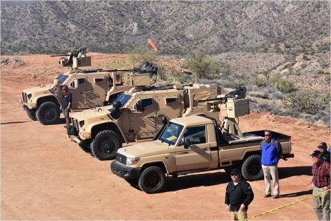 The M230 Link Fed Bushmaster Chain Gun was integrated on to weapons stations from Kongsberg and EOS. The remote weapons stations were installed on both the Oshkosh JLTV and a Land Cruiser – showing the flexibility of a lightweight but capable chain gun on differing vehicles. (Photo: Business Wire)