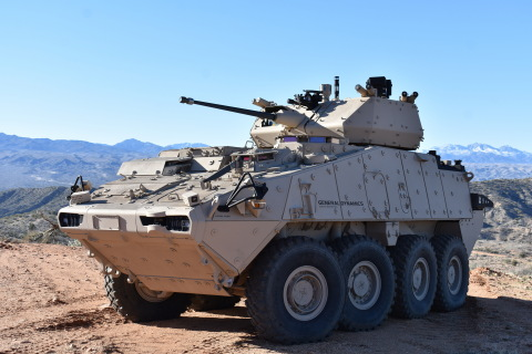 The MK44 Bushmaster Chain Gun was demonstrated in both 30mm and 40mm configurations during the live fire event. Integrated on to the General Dynamics Land Systems LAV with Kongsberg's MCT-30 remote turret, the system replicated the upgrade the companies are providing for the U.S. Army's Stryker Lethality Upgrade program. The MK44 also demonstrated its programmable airbursting munition in both 30mm and 40mm during the demonstration. (Photo: Business Wire)
