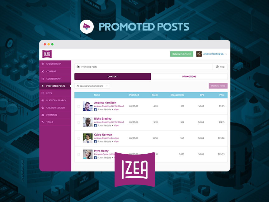 IZEA Announces Promoted Posts. (Graphic: Business Wire)