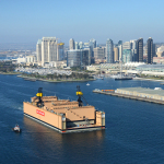At 950 feet long and capable of lifting 55,000 long tons, BAE Systems' new San Diego dry dock is the largest floating dry dock in California. (Photo: BAE Systems)