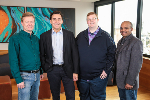 Ford is investing $1 billion during the next five years in Argo AI, combining Ford's autonomous vehicle development expertise with Argo AI's robotics experience and startup speed on artificial intelligence software – all to further advance autonomous vehicles. Pictured are: Peter Rander, Argo AI COO; Mark Fields, Ford president and CEO; Bryan Salesky, Argo AI CEO; and Raj Nair, Ford executive vice president, Product Development. Salesky and Rander are alumni of Carnegie Mellon National Robotics Engineering Center and former leaders on the self-driving car teams of Google and Uber, respectively. (Photo: Business Wire)