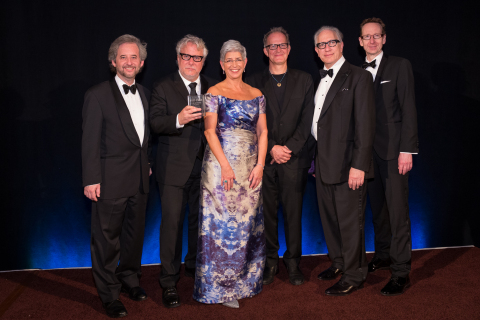 USC Libraries Dean Catherine Quinlan (center) with 29th-annual USC Libraries Scripter Award Winners (left to right) Scott Alexander and Larry Karaszewski, Stephen Cornwell, Scripter Selection Committee Chair Howard Rodman, and USC Provost Michael Quick (Photo: Business Wire)