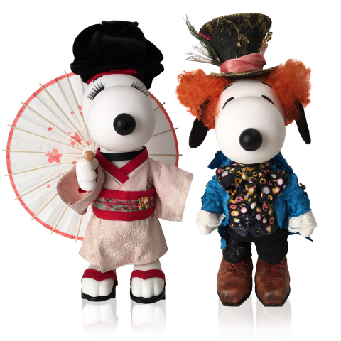 "Snoopy and Belle--The Reel Deal in Fashion: Costume designer Colleen Atwood pays homage to two of her Oscar winning films for the ""Snoopy and Belle in Fashion"" exhibit by dressing Snoopy as the Mad Hatter from Alice in Wonderland and Belle as a geisha girl from Memoirs of a Geisha. The exhibit, which debuts in the U.S. on February 14 at Beverly Center in Los Angeles, features more than 50 different dolls bedecked by more than 30 top designers from around the world. (Photo: Business Wire)"