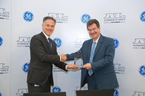 left: Joseph Anis, President & CEO of GE's Power Services business in the Middle East & Africa; right: Dimitris Stefanidis, CEO of Aluminium of Greece. (Photo: Business Wire)