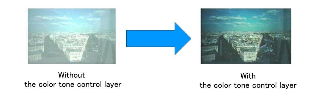 With/without the color hue control layer (Graphic: Business Wire)