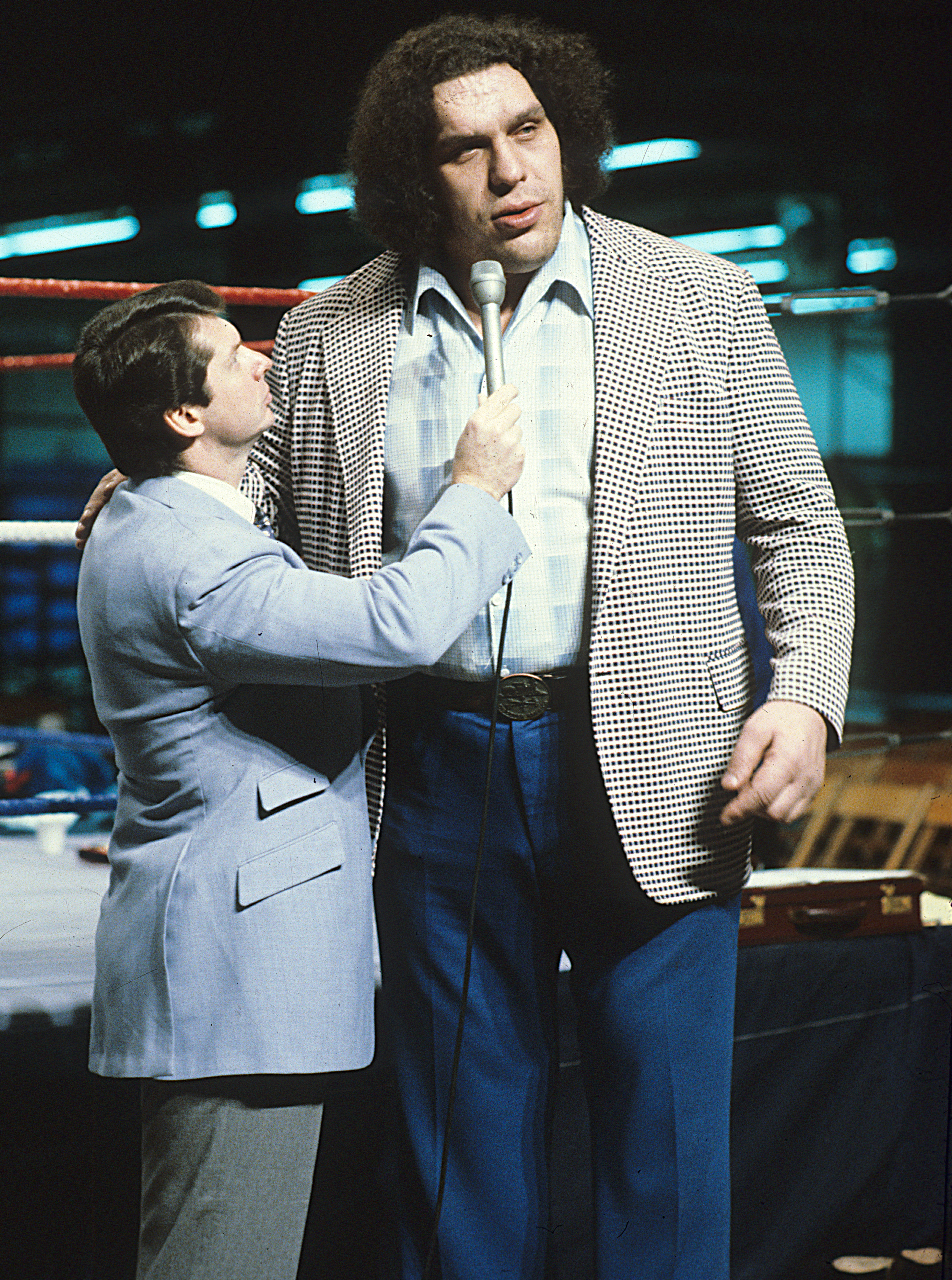 """Vince McMahon interviewing """"Andre the Giant"""" (Photo:Business Wire)"""
