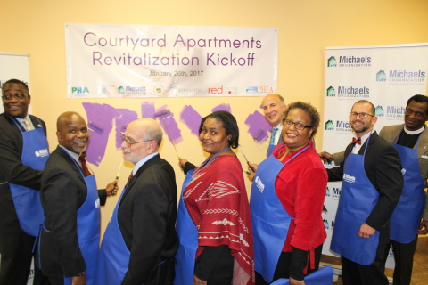 City, State, and Federal Officials, along with Courtyard residents join executives of The Michaels Organization for the revitalization celebration of Courtyard at Riverview. (Photo: Business Wire)