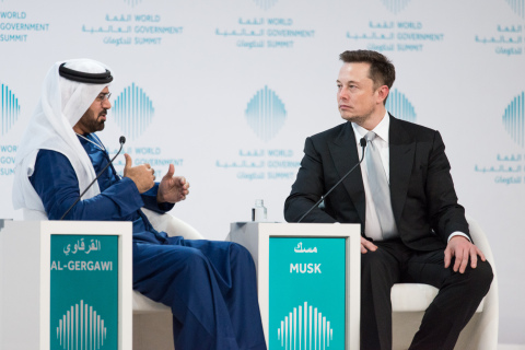 H.E. Mohammed Al-Gergawi, Minister of Cabinet Affairs and Future, UAE with Elon Musk at the World Go ...