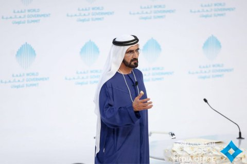 His Highness Sheikh Mohammed Bin Rashid Al Maktoum during his session at the World Government Summit ...