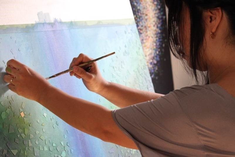 "In ""Regeneration,"" the first of four episodes in Prudential's Masterpiece of Love, artist Tomo Mori works in her studio. (Photo: Business Wire)"