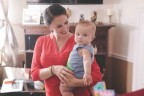 """In """"Regeneration,"""" the first episode of Prudential's Masterpiece of Love, survivor Amelia Borealis takes a break with her son during filming. (Photo: Business Wire)"""