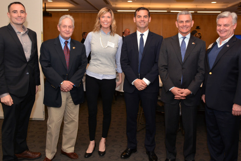 Pictured Left to Right: Daniel La Hart, Diversity & Inclusion U.S. Initiative Lead for Veterans Programs at MetLife; Larry Liss, Director Veterans Business Services at Gap International; Colleen France, Director of Carey JD/MBA Program at University of Pennsylvania; Andy Hooper, Vice President at Gap International; Henry Fischer, Director Veterans Business Services at Gap International; and Denny Shupe, Partner at Schnader Harrison Segal & Lewis LLP. (Photo: Business Wire)
