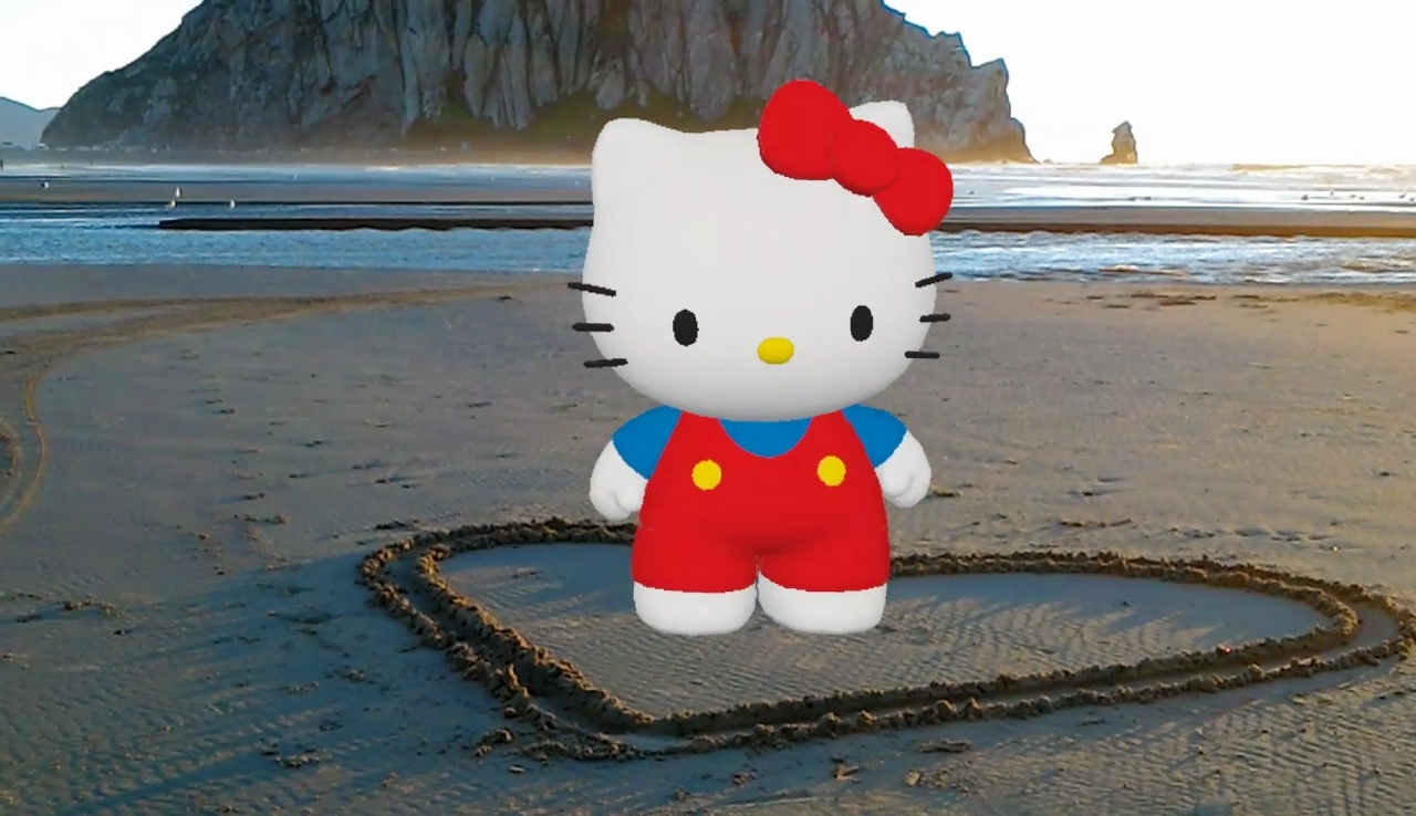 "SPACES Inc. is helping Sanrio's ""Hello Kitty"" spread her hearts and kisses into the Microsoft HoloLens with a brand-new ""Hello Kitty"" Actiongram theme pack of characters, featuring 14 ""Hello Kitty"" holograms. (Graphic: Business Wire)"