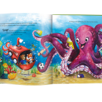"""Characters in the new children's book, """"Oliver & Hope's Good Deeds Day,"""" receive help from a playful Octopus. Book is available at UHCCF.org/shop (Source: UnitedHealthcare Children's Foundation)."""