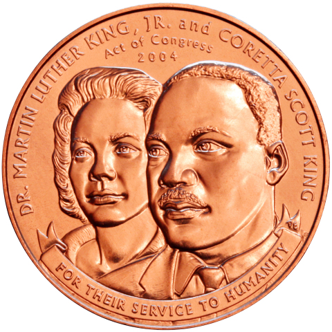 """This Martin Luther King and Coretta Scott King Bronze Medal is one of more than 40 coins, medals and medallions featured in """"For the Love of Money: Blacks on US Currency"""" at the Museum of American Finance."""