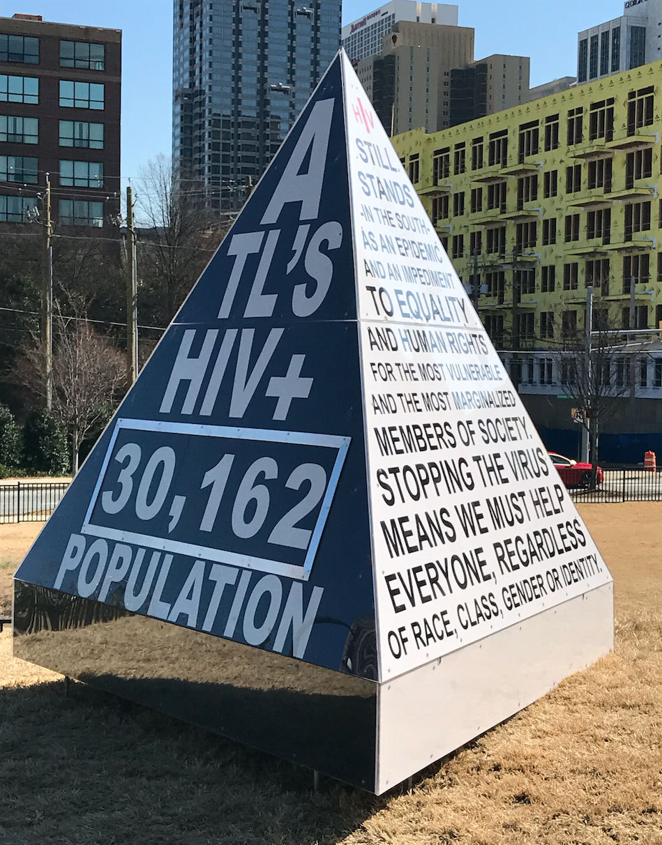 """Created through support from the AHF Grant Fund, """"Atlanta's HIV+ Population Now"""", an 8-foot art installation designed by local Atlanta artist Matthew Terrell, shows audiences the ever-growing problem of new HIV diagnoses in the Atlanta metro area. (Photo: Business Wire)"""