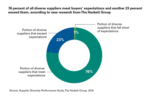 76 percent of all diverse suppliers meet buyers' expectations and another 23 percent exceed them, according to new research from The Hackett Group (Graphic: Business Wire)