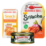 New flavors from Bumble Bee include Bumble Bee® Prime Fillet® Albacore Tuna with Pesto & Olive Oil (center), Bumble Bee® Sriracha Seasoned Tuna Pouch with Spoon (right) and Bumble Bee® Snack on the Run! Cheesy Tuna Melt with Crackers Kit (left). (Photo: Business Wire)